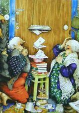 Postcard Art Two Old Ladies Friends Sisters Mail Mailbox Inge Look Finland