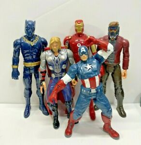 "Marvel Avenger Action Figure Lot Thor Iron Man Black Panther 12"" 10"" Figures"