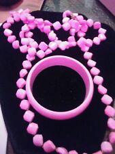 Jayne Mansfield Owned & Worn Pink long Necklace & Bracelet from Estate Sale
