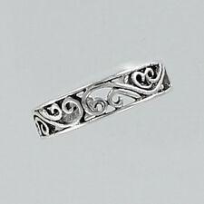 Adjustable Toe Ring Filigree Swirl Design Sterling Silver 925 Scroll Foot