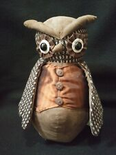 Dora Designs~ Brown Suede Weighted Owl  Stuffed Whimsical Home Decor/Doorstop