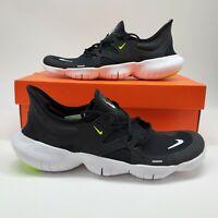 Nike Free RN 5.0 Mens Sz 10.5 Running Shoes Black White Volt AQ1289-003 NEW