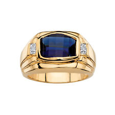 BLUE SAPPHIRE & DIAMOND ACCENT MENS 14Carat YELLOW GOLD OVER RING Halloween