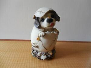 Collectable Puppy Dog Hatching from Egg, Adorable Resin Figurine, Impressed mark