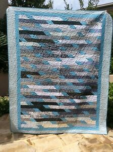 Handmade patchwork Quilt. Grey and blue jelly roll race (#59)