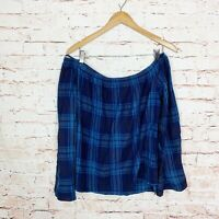 Cloth & Stone Blue Plaid Off Shoulder Bell Sleeve Top Womens Size Medium