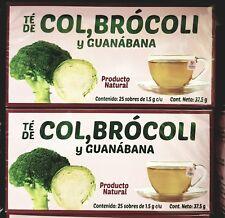 Te de col,brocoli y guanabana 50 bolsitas