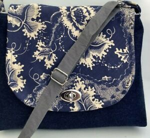 Cross Body Bag: Shoulder bag: Denim Handmade in Cheshire; Lined: Two Pockets: