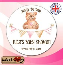 BLG07 48x40mm Baby Shower Birth Girl Personalised Christening Sticker/Label/Card