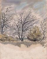 TREES IN LANDSCAPE Watercolour Painting T J PITT 1960