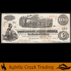 ATTRACTIVE T-40 1862 $100 CONFEDERATE CURRENCY  *TRAIN NOTE*  59147
