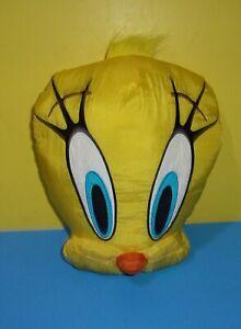 "Bridge Direct Tweety Bird Head Plush 12"" Face Pillow Nylon Stuffed Looney Tunes"