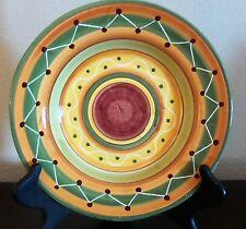 Pier1 Etrusco Italian Made Rim Soup Bowls x1 Red Orange Green Bands Swirls Dots