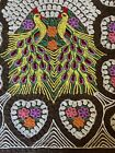 Vintage Chenille Bedspread Double Peacock Pattern Full Size Hearts Brown Plush
