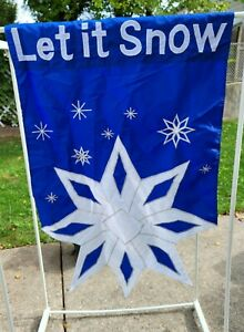 Vintage Let It Snow 28 x 40 Double Sided Winter Blue Snowflake House Flag