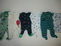 Baby Boy Preemies  Sleepers & One Piece Clothes Lot