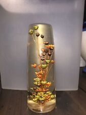 Daisyglas Co Vintage Mid Century Lucite Dried Flowers Paperweight 6�