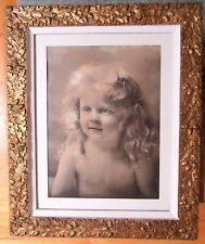 BIG ANTIQUE PHOTO BABY GIRL CHILD GOLD GILT GESSO PICTURE FRAME OAK LEAF ACORN
