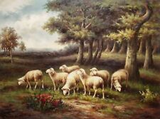 Sheep in the Forest, 36x48,100% Hand Painted Oil painting on Canvas,