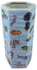 Umbrella Stand Stick Holder Glazed Ceramic Sea Life Hexagonal Storage Decor 46cm