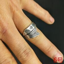 Miao silver fish ring 1piece National wind original personality pure hand-carved