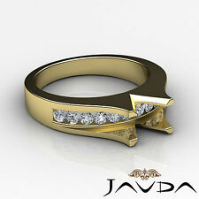 Natural Diamond Engagement Gorgeous Ring 18k Yellow Gold Emerald SemiMount 0.6Ct