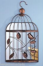 """Mirrored Birdcage Scrolled Metal Wall Art Sculpture, Bird Leaves Accent 23.5""""H"""