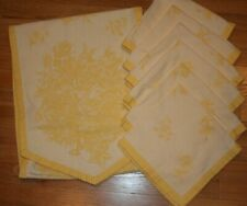 Williams Sonoma Yellow Floral Table Runner 6 Napkins Rose Spring White Cotton