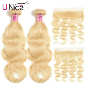 613 Blonde 13x4 Lace Frontal Closure with 2 Bundles Indian Human Hair Weft UNice