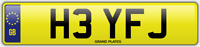 FJ INITIALS NUMBER PLATE HEY HI CHERISHED CAR REG H3 YFJ NO ADDED FEES TO PAY