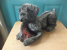 Large Vintage Black Plaster Puppy Dog Figure