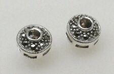 JUDITH JACK- 925 STERLING SILVER Marcasite SMOKY QUARTZ Stud Earrings-NO RESERVE