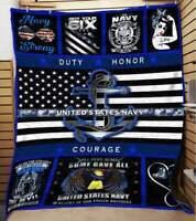 Navy - United States Navy Sofa Fleece Blanket 50-80