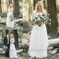Vintage A Line Beach Wedding Dress White Ivory Lace Bridal Ball Gown 2 4 6 8 10+