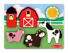 Melissa and Doug 13755 Wooden Barnyard Farm Fun Chunky Puzzle NEW