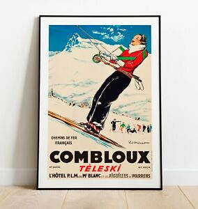 Vintage Skiing Print, Combloux Print, Ski Poster, Vintage Travel Poster