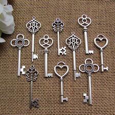 Mixed 50Pcs Antique Silver Skeleton Keys Alloy Key pendants charms Wedding favor