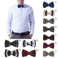 Men's Multi-Colour Striped Bowtie Knit Knitted Pre Tied Bow Tie Woven Party New