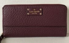 New Kate Spade Lacey Bay Street Leather Zip Around Wallet Mulled Wine