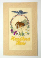 WW1 SILK EMBROIDERED POSTCARD - HOME SWEET HOME
