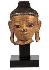 Burma 18./19. JH. cabeza-a Burmese Lacquered Wood Head of Buddha-Tete Bouddha