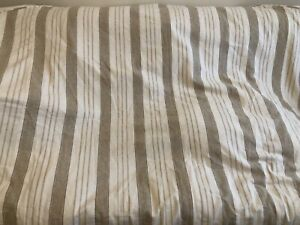 Pottery Barn Lewis Headboard Slipcover King Linen Natural Stripe Beige Farmhoise