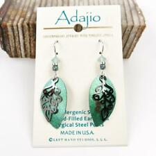 Adajio Earrings Green Leaf Drop Hematite Feather Overlay Handmade in USA 7858