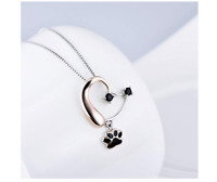 """925 Sterling Silver Forever Love Heart Puppy Paw Pendant Necklace for Women,18"""""""