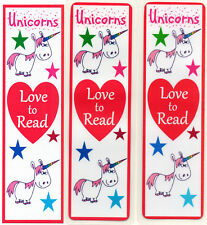 3 CHILDRENS BOOKMARKS,UNICORNS LOVE TO READ.18cm x5cm laminated
