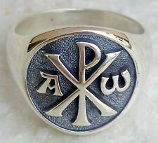 Sterling Silver 925 3D Alpha and Omega Chi rho Christian Bishop Cleric Ring