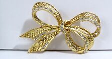 "Vintage "" ROMAN "" Rhinestone ROPE Bow GOLD TONE METAL Pin BROOCH"