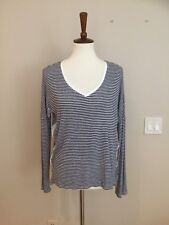 Anthropologie Bordeaux Sz M Navy Striped oversized knit top Long Sleeve V-neck