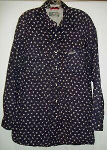 Orvis Trout Bum Men's Vented Pearl Snap LS Navy Shirt Sz XL Western Print Rodeo