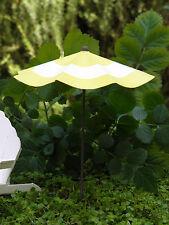 Miniature FAIRY GARDEN Accessories ~ Yellow & White Striped Beach Umbrella ~ NEW